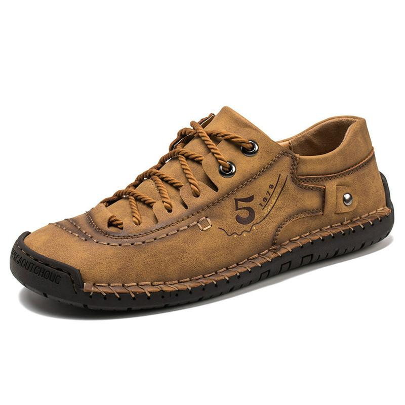 Sapatos de couro Homens Sneakers Trainers Lace-up Flats Driving Casual Comfort Loafers costura artesanal calçado
