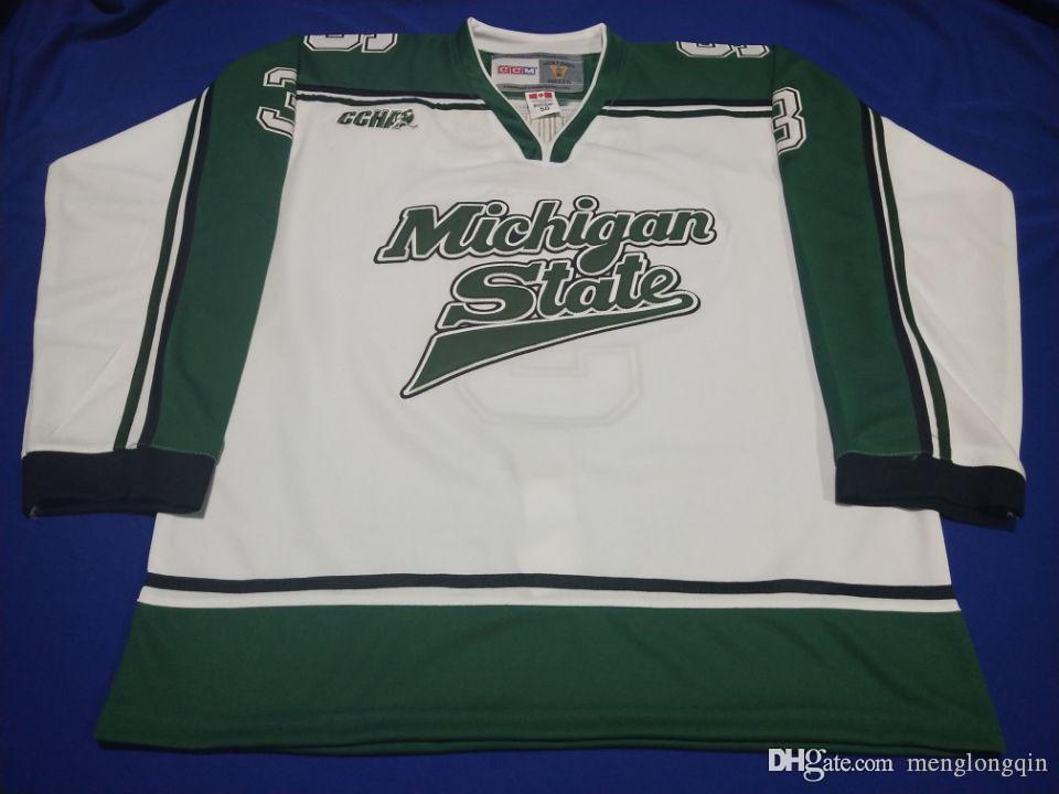 De alta qualidade bordados Justin Abdelkader Michigan State Spartans hockey jersey bordado costurado personalizar qualquer número e nome Jerseys