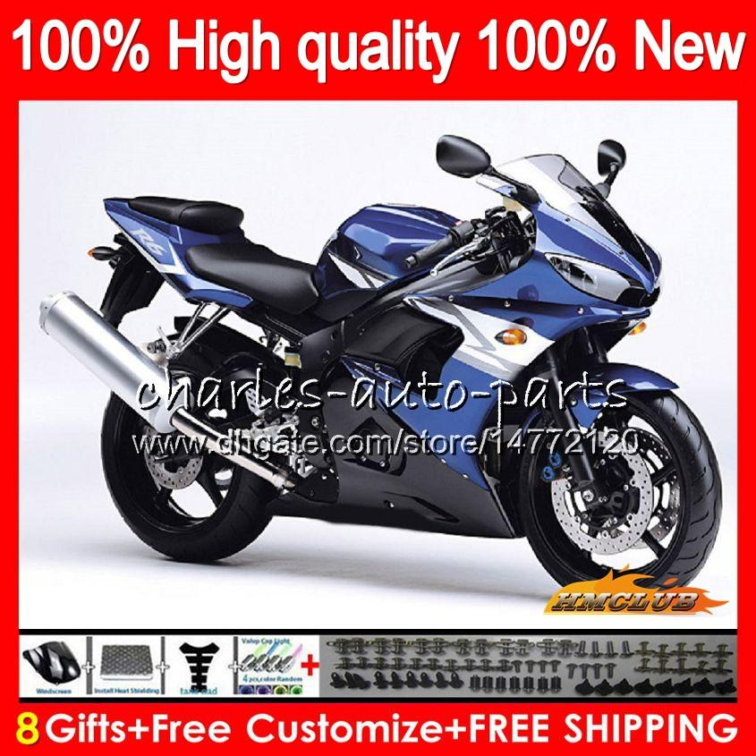 Corpo Per YAMAHA YZF R6 S YZF600 YZFR6S 2006 2007 2008 2009 60NO.80 YZF600 lucida blu YZF R6S 06-09 YZFR6S 06 07 08 09 Kit completi carenature