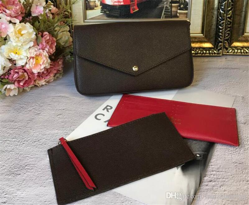 FELICIE drei in einer Crossbody Taschen Frauen Handtaschen Geldbörsen echtes Rindsleder diagonalen Schulterkettenbeutel Portemonnaie