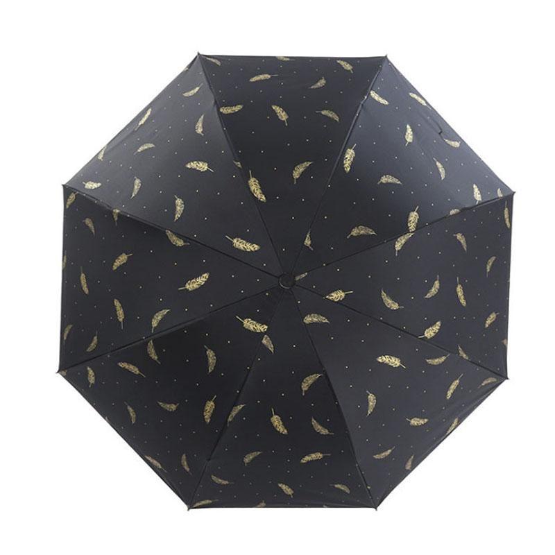 Pluma Sombrilla Paraguas Negro pluma blanca Sunny lluvioso paraguas plegable de tres Negro Revestimiento de vinilo protector solar paraguas