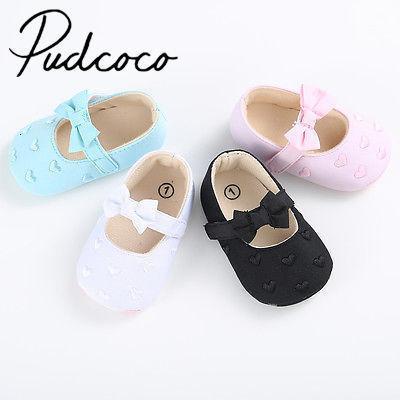 Pudcoco precioso Arco-nudo de niño de las muchachas del bebé de tela suave de los zapatos del pesebre Sole Zapatos 0-18m