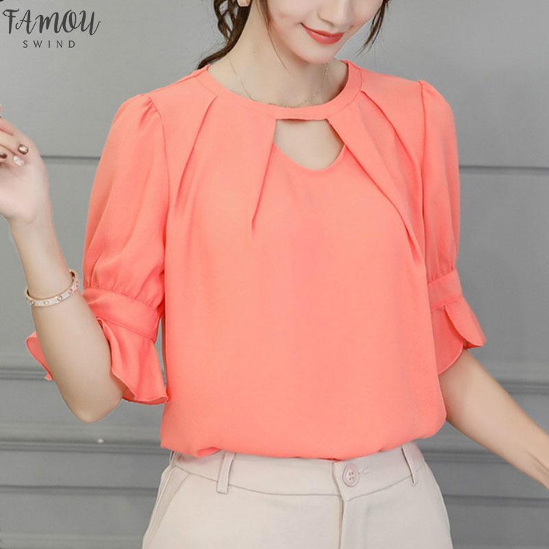 Новые Женщины 2020 Рубашка Блузка Корейская Весна Лето Розовые Блузки Женские Белые Небесно Голубые Топы С Коротким Рукавом Blusas Ткань Топы