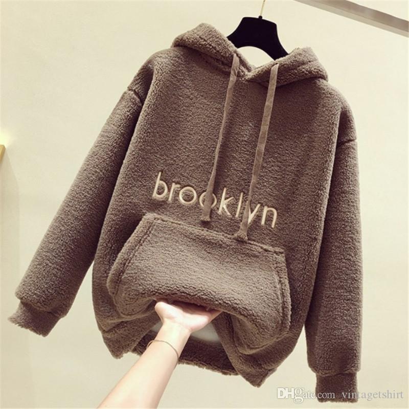 Femmes Designer Sweats à capuche épais brooklyn exquis broderie Mode Vêtements Femmes Adolescent Ulzzang Casual Toison Hoodies Automne