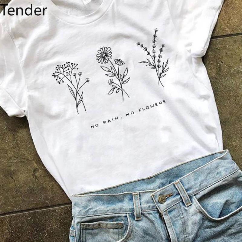 T-shirt Femme 2021 Harajuku Pas de fleurs de pluie T-shirt Femmes Graphique Graft Farm Tops blancs Plus Taille Tee dans les filles Dames Vêtements