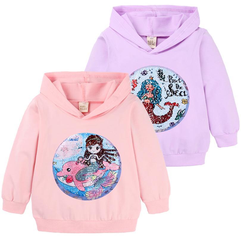 Neonate Felpe Primavera Autunno Cartoon Paillettes JatChildren cappuccio maglione bambini Outwear Tops Clothes
