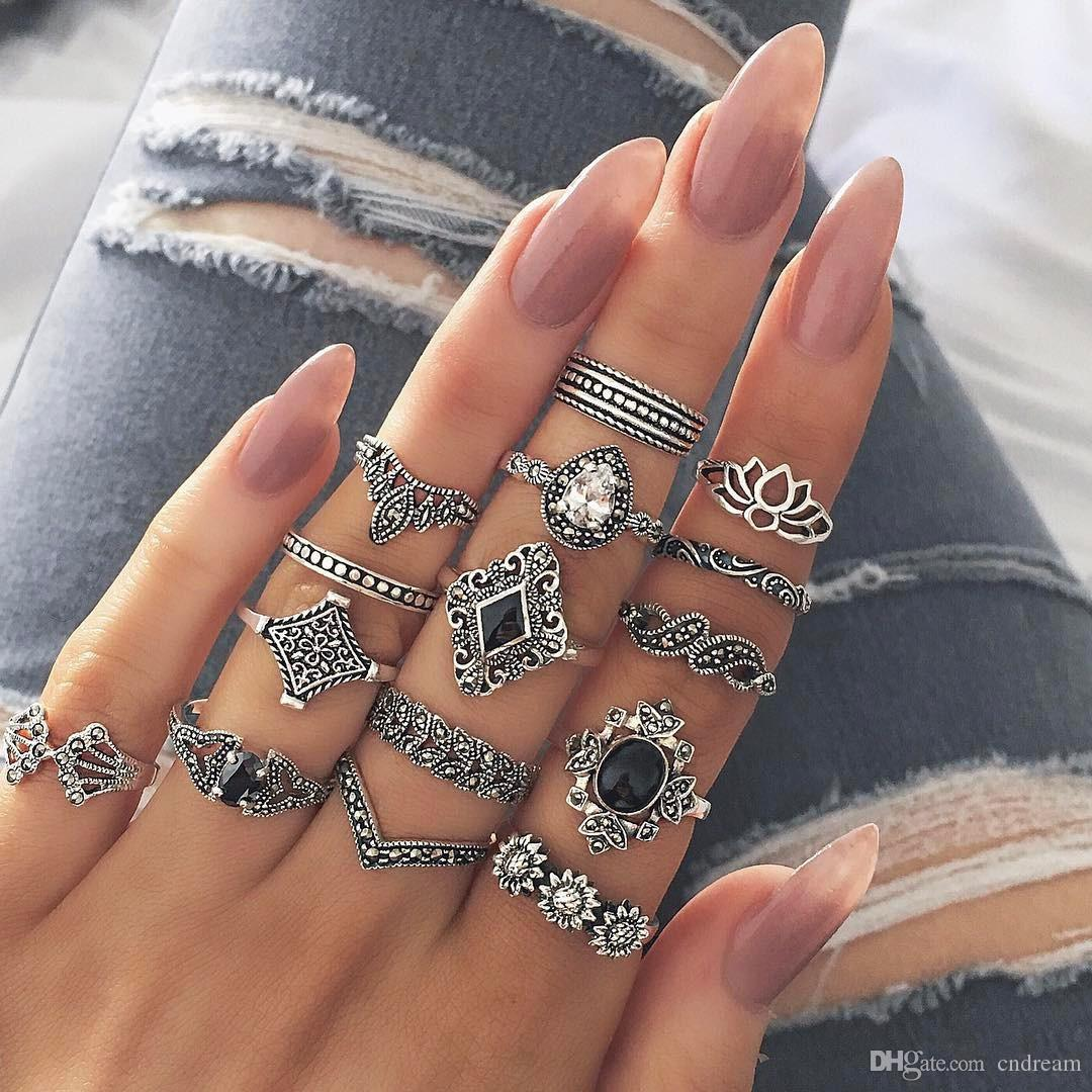 15pcs/set Lotus Ring Sets Bohemia Ancient Silver Flower Lotus Ring Band Rings Women Fashion Jewelry Will and Sandy Drop Ship