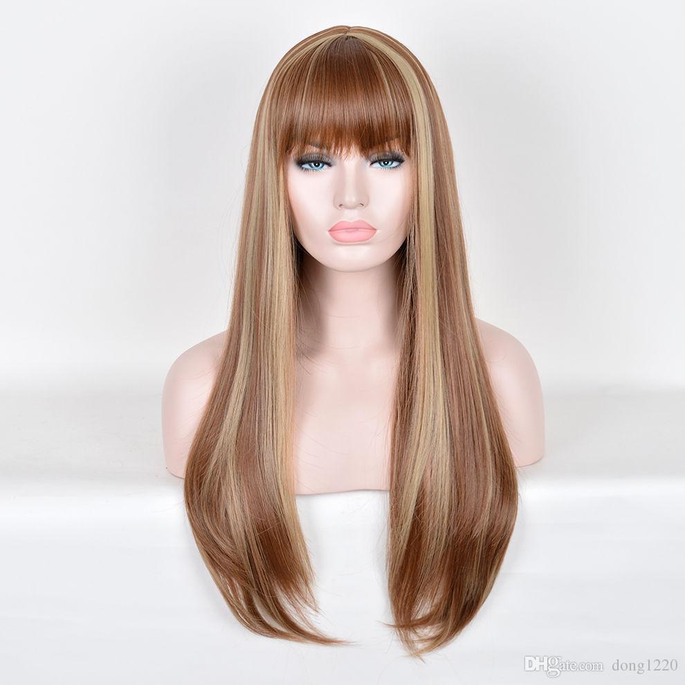 갈색 머리 긴 자연 스트레이트 가발 믹스 Bang의 가발에 금발 하이라이트