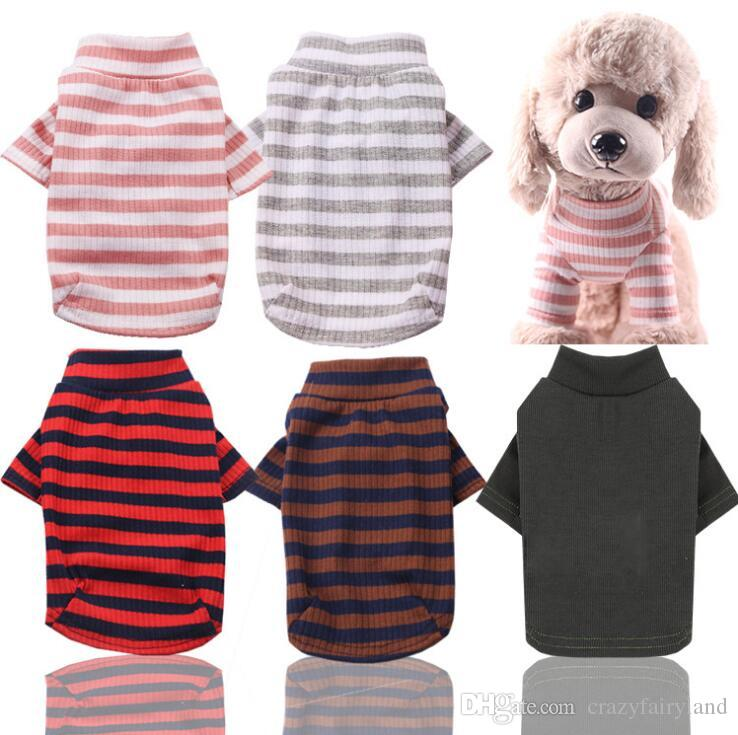Elastic Bottoming Shirt Pet Dog Striped Clothes Cotton Warm Winter T-shirt Cat Puppy Costume Apparel for Small Medium Dog XS-2XL