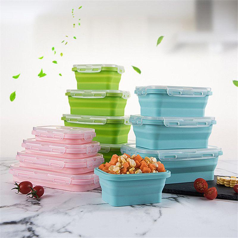 سيليكون Floding الغداء صناديق مستطيل قابل للانهيار بينتو مربع قابلة للطي الغذاء الحاويات السلطانية 350/500/800 / 1200ml 4PCS / مجموعة أواني
