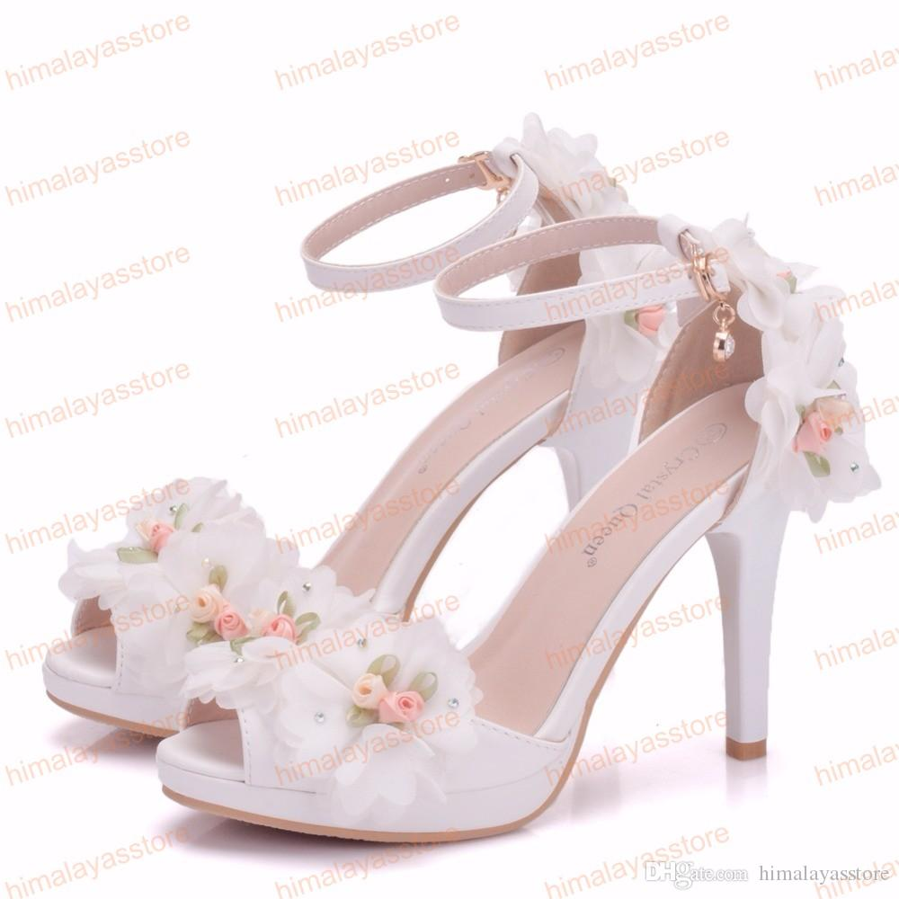 Hot Sell Women Bride Shoes Toe High-heeled Butterfly Wedding Shoes Lace Flowers Wristbands 2019 Summer Party Sandals Pumps