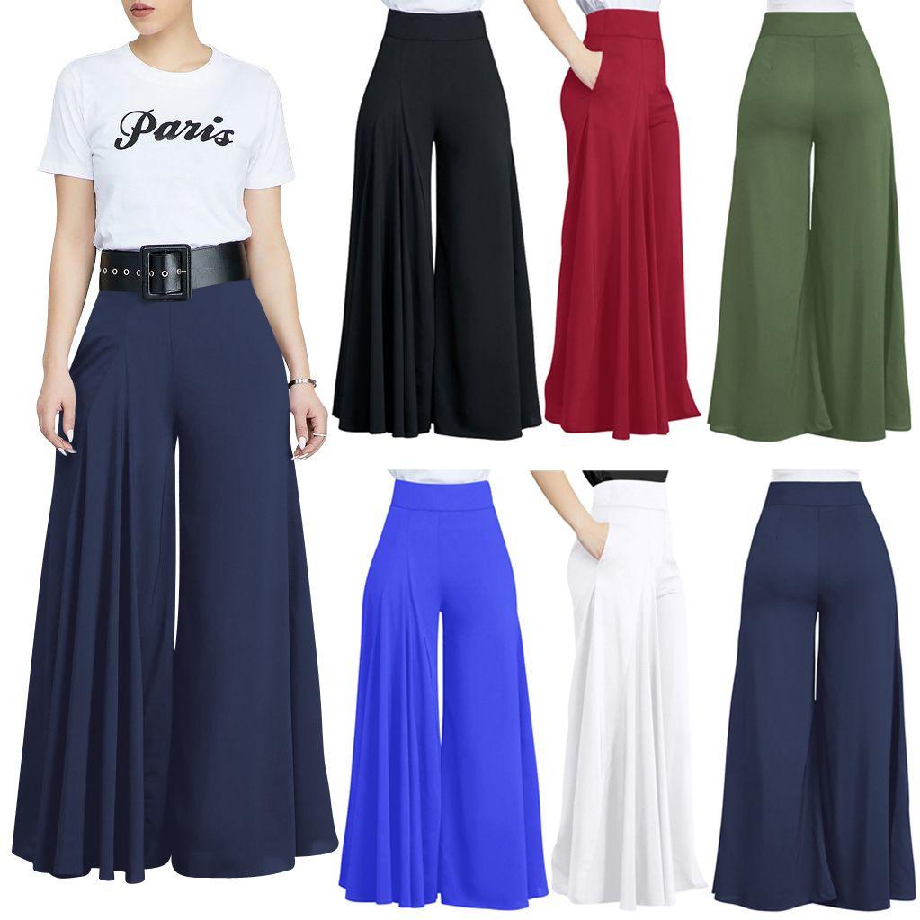 Брюки 2021 осенью и зимняя европейская мода повседневная свободные сплошные цветные карманные плиссированные широко-ноги брюки, поддержка смешанной партии