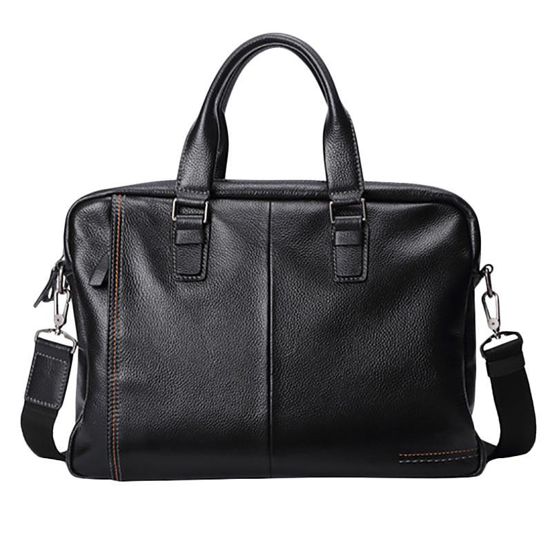 Neue Leder-Männer Aktentasche Art und Weise große Kapazitäts-Business Bag Black Male Schulter Laptop-Tasche