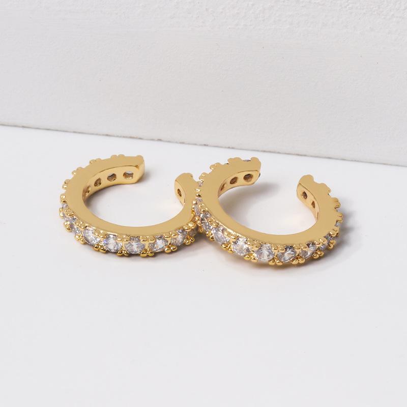 Fashion-Nuovi orecchini con micro-intarsio orecchini cerchio di cristallo semplice europei ed orecchini dorati americani