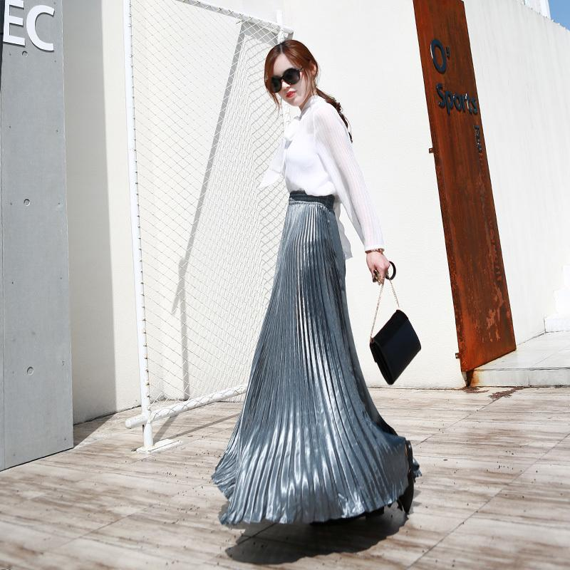 2019 Summer Fashion Vintage Silver Golden Metal Solid Flared Maxi Skirt High Waist Beach Long Pleated Skirts For Women Ladies Y19043002