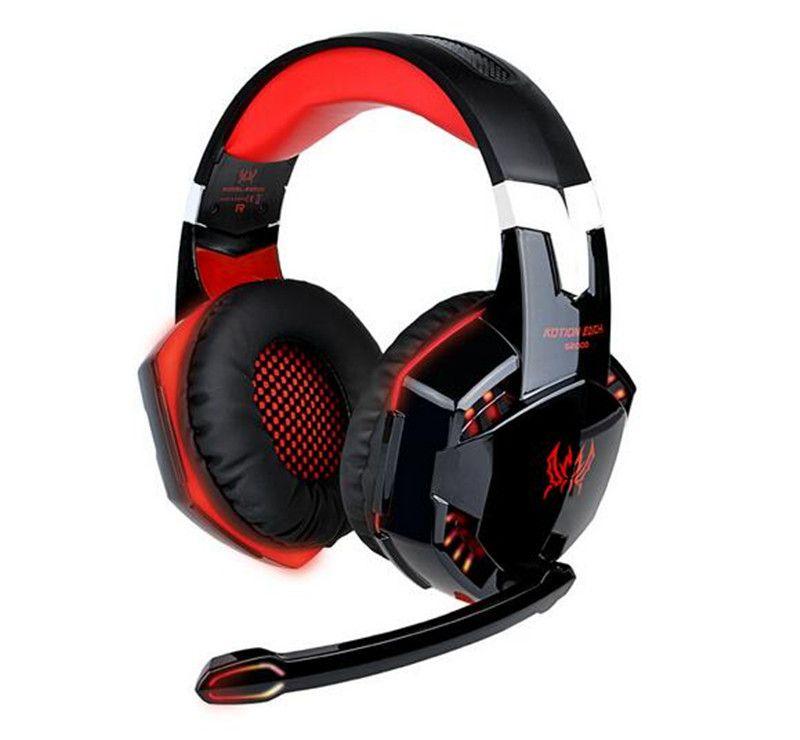 Nova Eletrônica KOTION CADA G2000 Over-ear Game Gaming Fone De Ouvido fone de Ouvido fone de Ouvido Headband com Microfone Baixo Estéreo LEVOU Luz para PC jogo