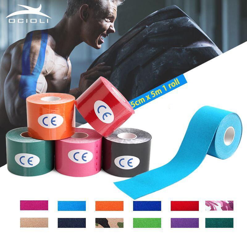 10 Peças 5 cm * 5 m Cinesiologia Fita Esportes Muscle Stickers Kinesiotape Rolo Algodão Elástica Adesiva Bandage Strain Suporte
