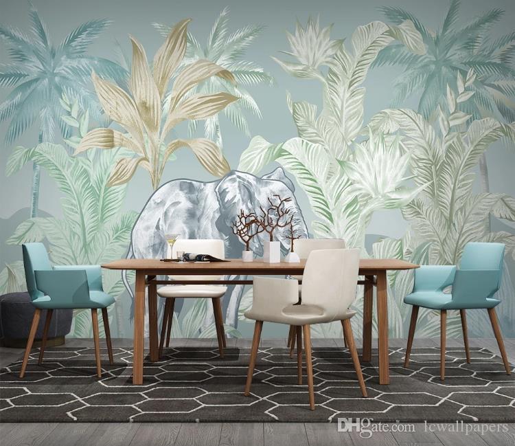 Papel pintado de encargo 3d pintado a mano Bosque plantas tropicales 3D televisión de fondo Fondo de la sala de estar Dormitorio mural del papel pintado