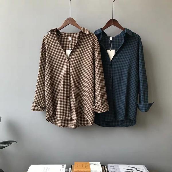 2019 diseño del otoño el nuevo diseño de la tela escocesa de Corea camisa de las mujeres suelta camisa de manga larga de la vendimia, moda, tendencia, de moda