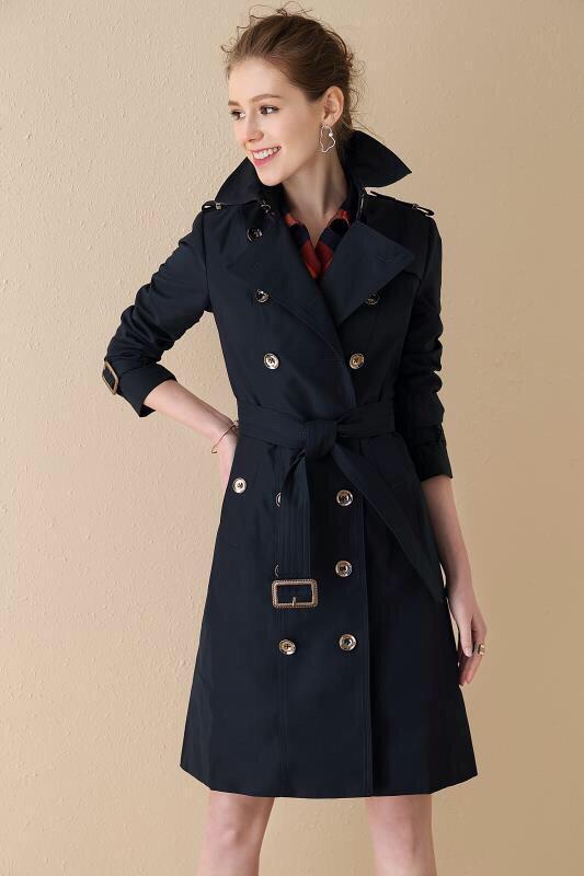 المرأة خندق معطف مزدوجة الصدر طويل الكلاسيكية سترة واقية للماء معطف البريطانية الجديدة الراقية الإنجليزية أسلوب الخريف الشتاء C019CCCCCCCCC
