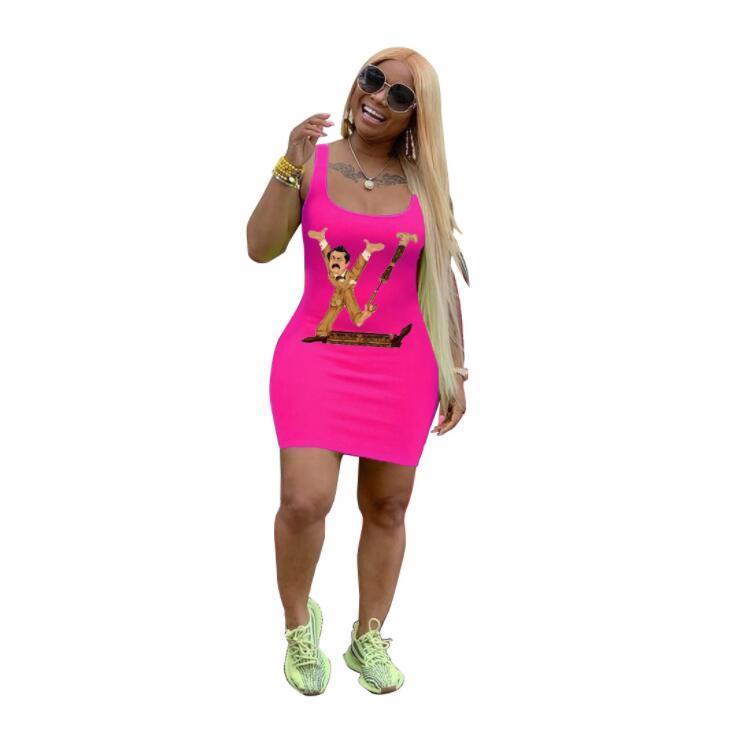 Frauen Sommerkleider drucken T-Shirt-Kleid-Sport-Weste Kleid sexy Print Minikleid
