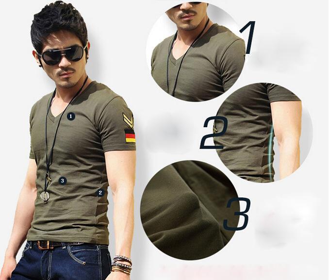 Fashion-army military slim fit air forceT-shirt, New Men's Casual V Neck T-Shirts Tee Shirts Slim Fit Tops Short Sleeve T Shirt