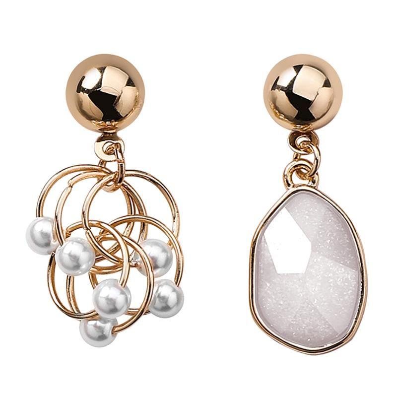 Pendientes exquisita nueva asimétrico geométrica de perlas de cristal pendientes de gota pendiente de las mujeres de Corea del temperamento de moda oído de la joyería