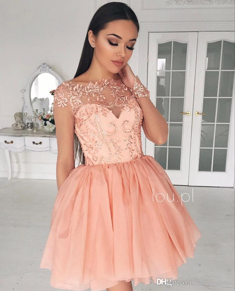 2019 Glamorous Sheer Homecoming Dress A Line Long Sleeves Short Juniors Sweet 15 Graduation Cocktail Party Dress Plus Size Custom Made