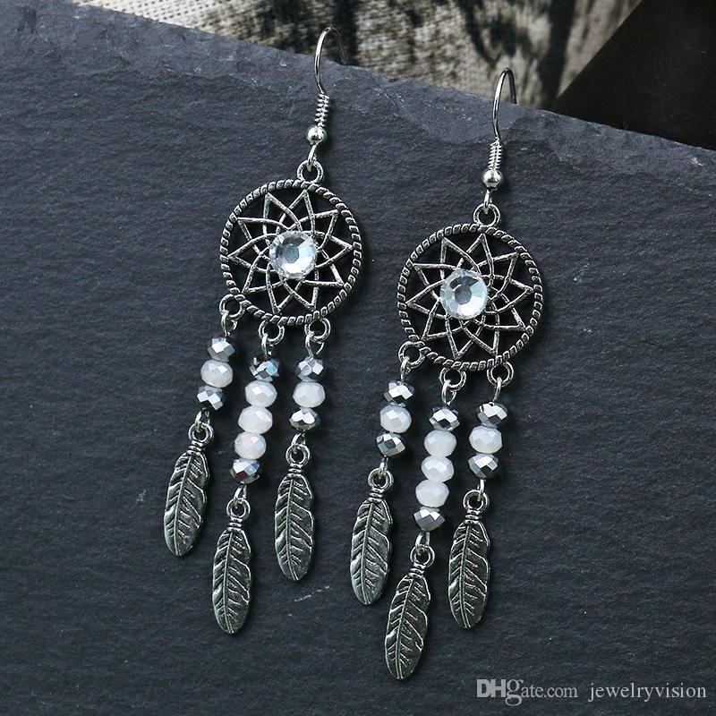 Hot Bohemian Fashion Jewelry Orecchini vintage da donna Orecchini Dreamcatcher Piume Nappe Orecchini pendenti S509
