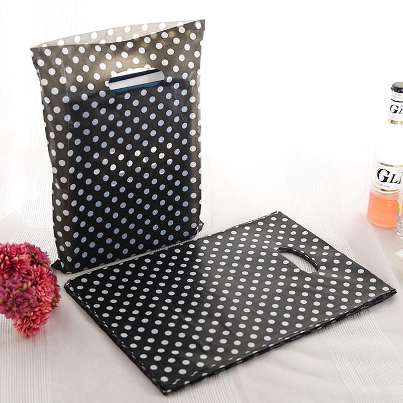 블랙 화이트 도트 플라스틱 선물 가방은 미니 쥬얼리를위한 핸들 포장으로 랩