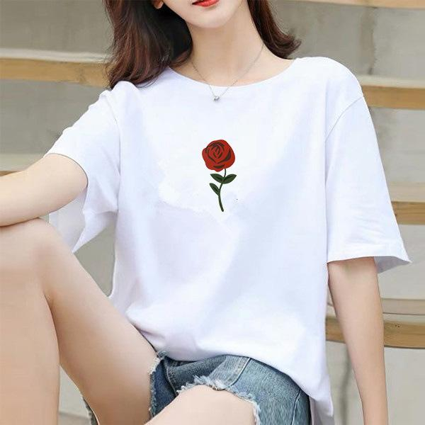 Womens Designer Tshirts Crew Neck Short Sleeve Tees Fashion Rose Print Solid Color Casual Tops Female Clothing