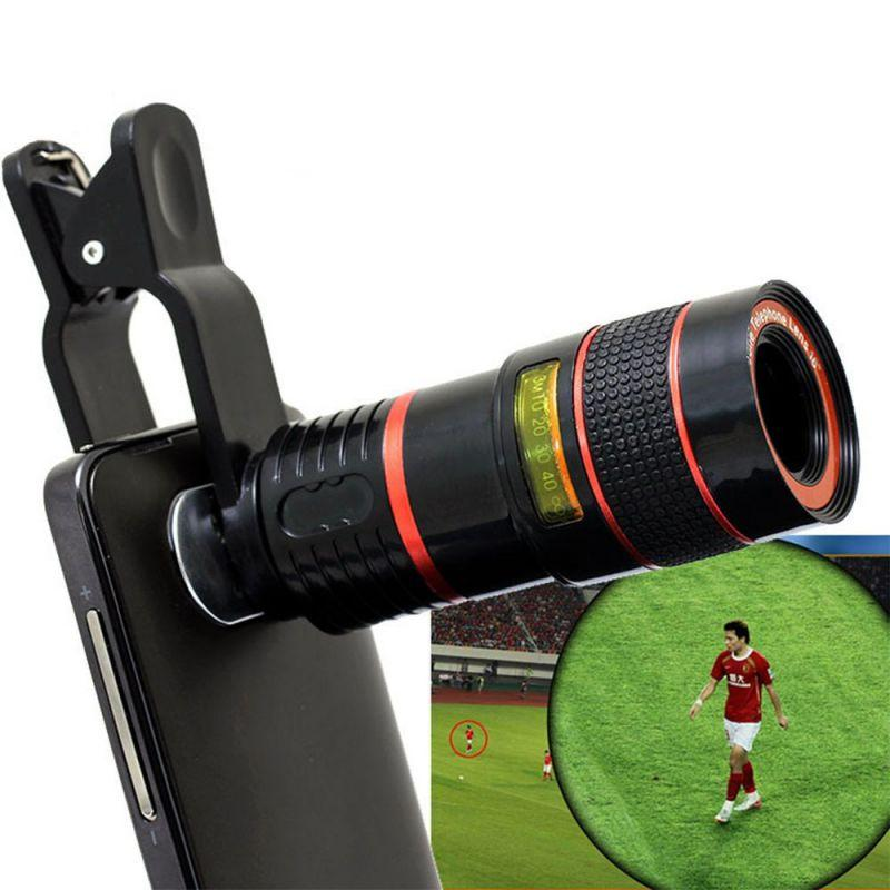 100pcs Zoom 8X Clip-on Telescope Optical 8 Times Cell Phone LENS With Clip For iPhone 7 Samgsung HTC Nokia withretailbox