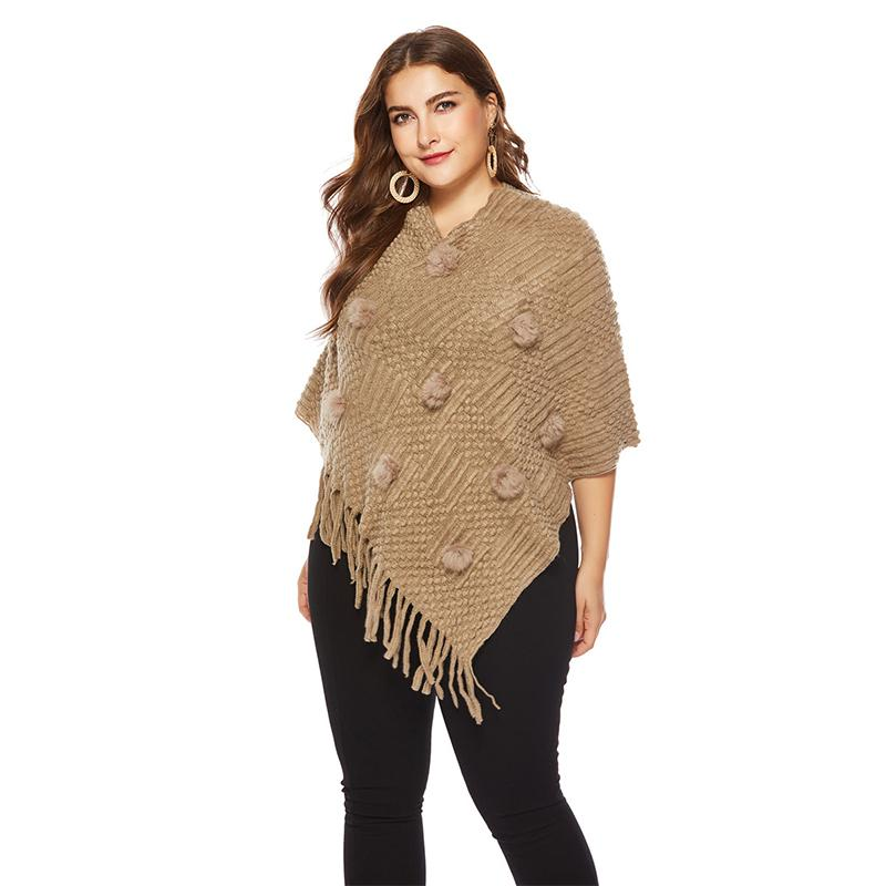 Ladies New Irregular Plus Size Pullover Female Long Cloak Shawl Sweaters Ponchos Capes Winter Shawl Sweater Womens With Tassels