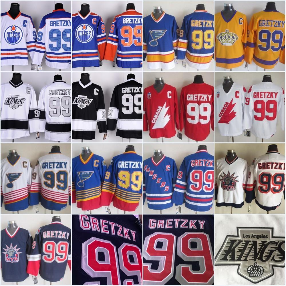 خمر 99 اين Gretzky لوس انجليس الملوك ادمونتون Oliers سانت لويس بلوز نيويورك رينجرز LA أسود أزرق بنفسجي أبيض هوكي الجليد الفانيلة