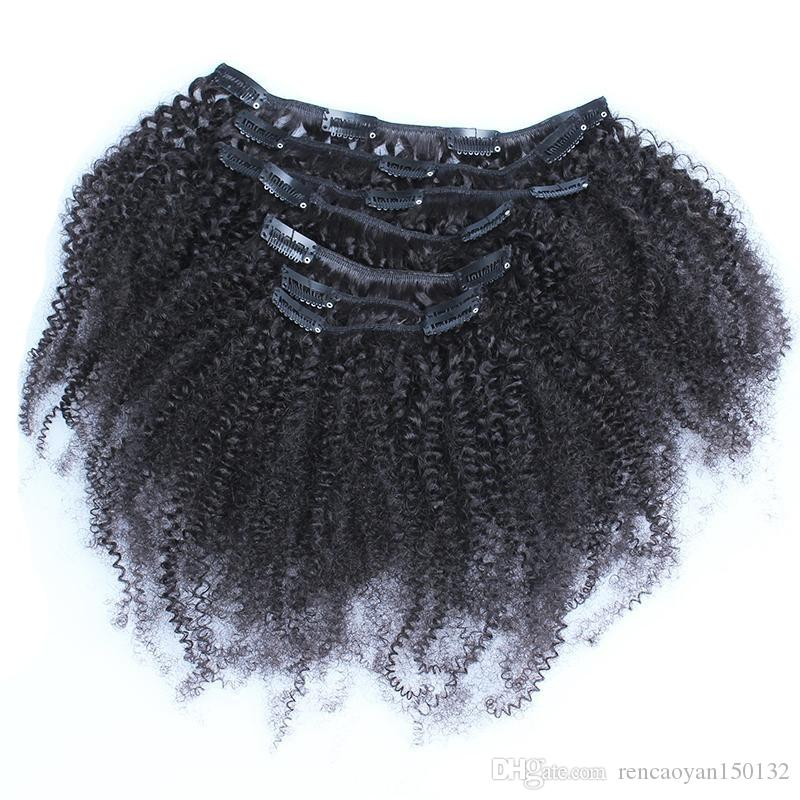 """Factory hot sale Afro Kinky Curly Clip In Human Hair Extensions grade 7a untreated virgin mongolian curly clip hair extensions 18"""" 20"""" 22"""""""
