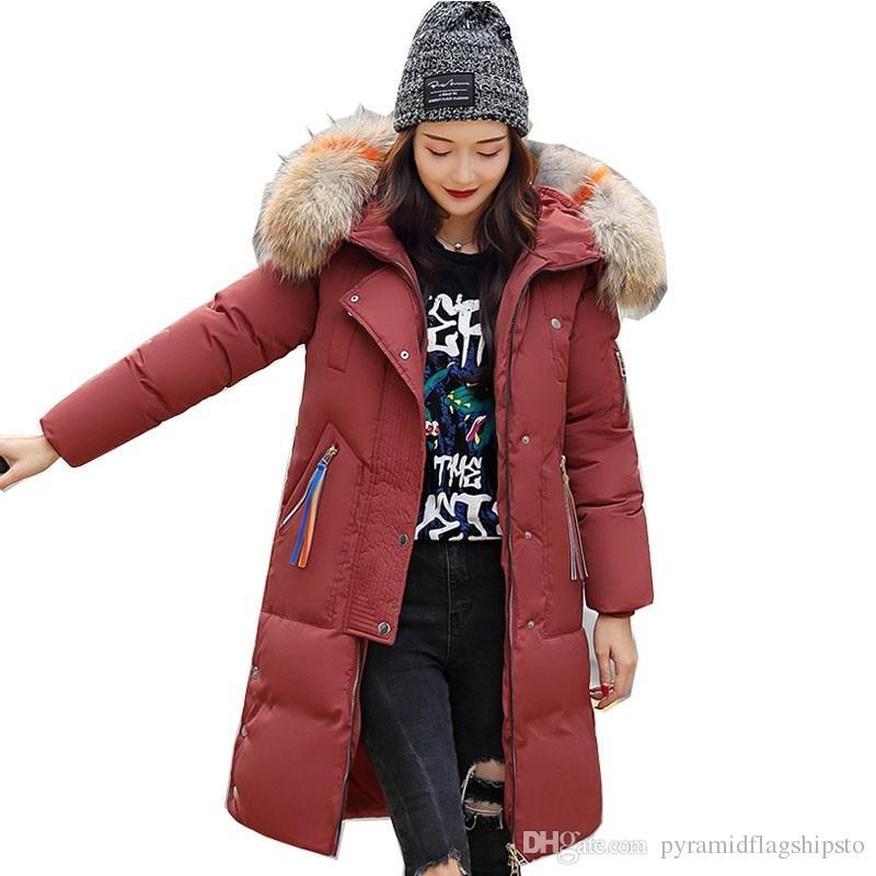 Outwear For Women Winter Jacket Long Warm Hooded Womens Winter Jackets With Colorful Fur Collar Female Winter Coat Parka