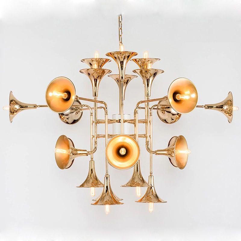 Modern İskandinav Paslanmaz Çelik Altın Trompet kolye Lambalar Vintage Retro Horn Delightfull botti kolye Işık İçin Salon