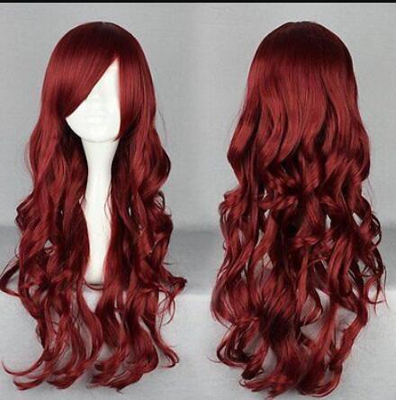 Парик бесплатная доставка X70 70 см длинные вьющиеся красное вино женщины сексуальный очаровательный парик косплей костюм
