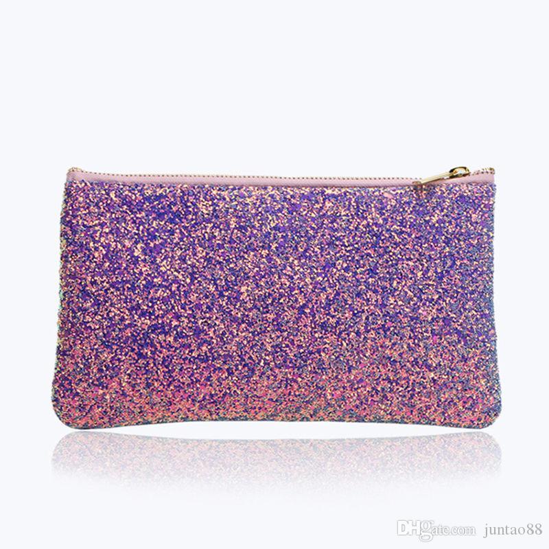 Bolso de maquillaje de purpurina púrpura caliente Lentejuelas brillantes de alto grado Bolsa de cosméticos Maquillaje Cepillo Suministros Bolsa de almacenamiento Envío gratis