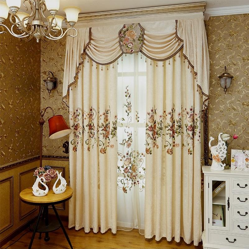 2019 NEW European Curtains for Living Room Bedroom High-grade Custom Chenille Embroidery Sheer Customize Cloth Valance