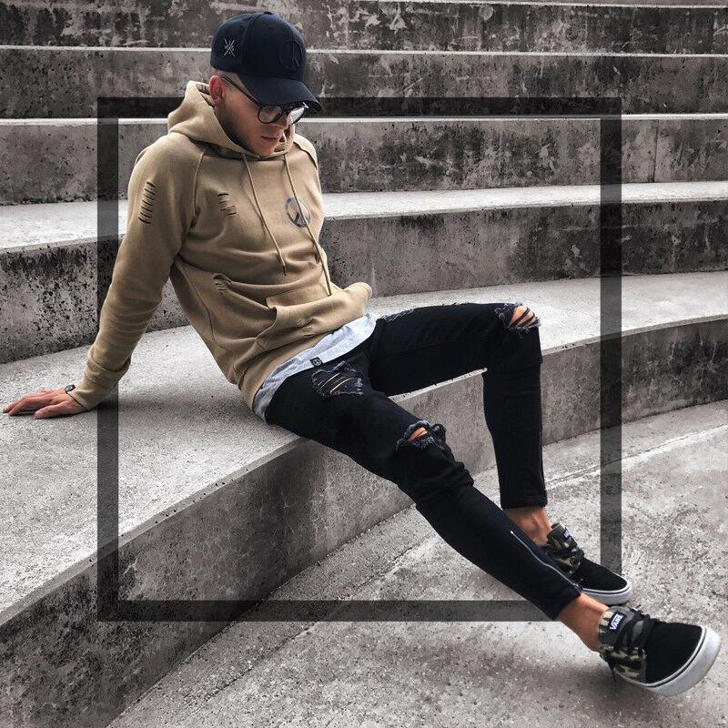 Мужские прохладный дизайнерский бренд черные джинсы тощий разорвал разрушенный стрейч Slim Fit Hop Hop брюки с отверстиями для мужчин F3MX190904