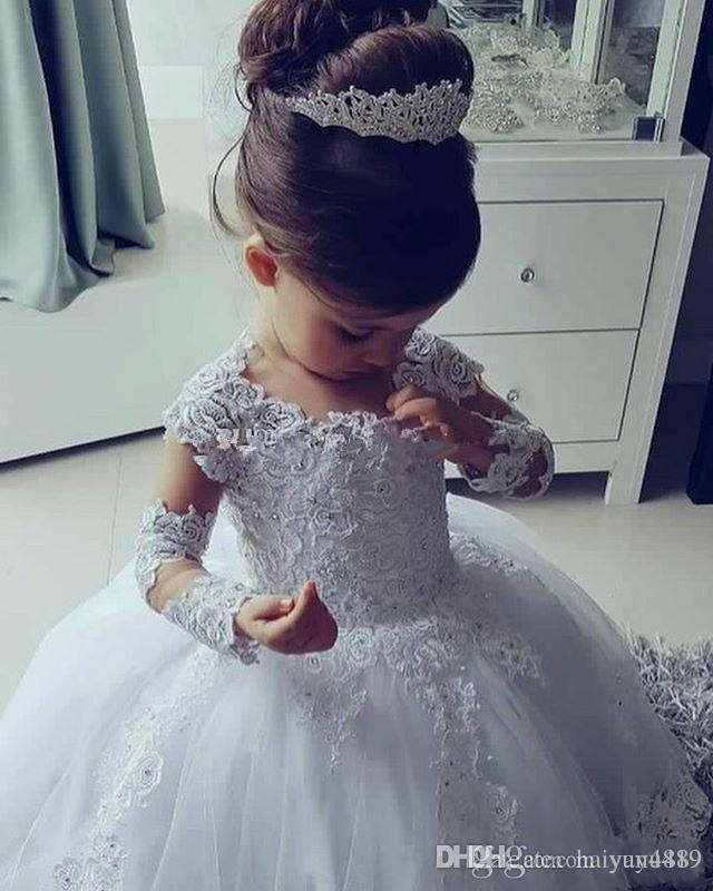 Новые дешевые принцессы цветок девочки платья Jewel шеи Кружева Аппликации из бисера Длинные рукава Puffy бальное День рождения Pageant платье Причастие