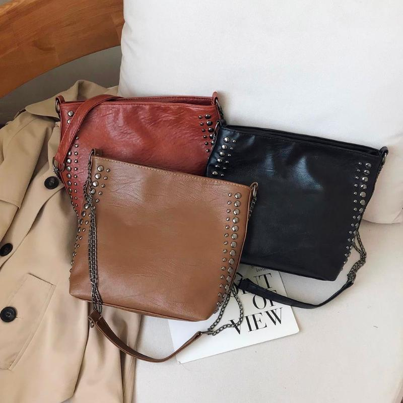 Femmes Automne simple sac à bandoulière grande capacité Casual épaule paquet PU Sac bandoulière en cuir Femme Sac à main mochila