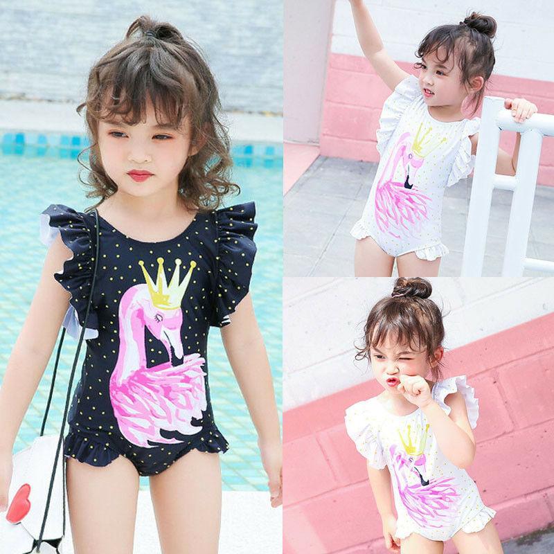2019 Brand New Newborn Kid Baby Girls Flamingo Bikini One Piece Swimwear Ruffles Sleeve Swimsuit Bathing Suit Beachwear 6M-5T