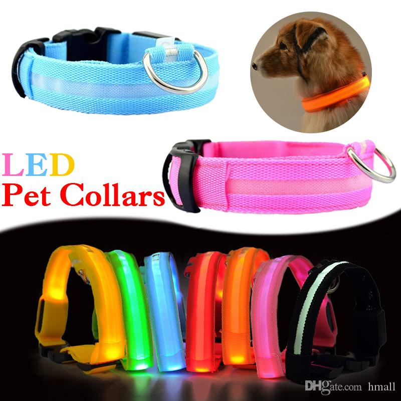 LED Pet Dog Collar Glowing Pet Collar Night Safety LED Light Up with Nylon Webbing Perfect for Small Medium Large Dogs Collars Pet Supplies