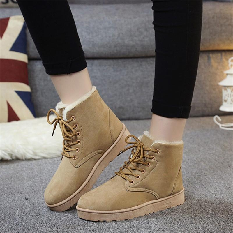 Brand Women Snow Boots Warm Winter Suede Boots Botas Mujer Lace up Fur Ankle Boots Flat Heels Ladies Casual Shoes 5 Colors