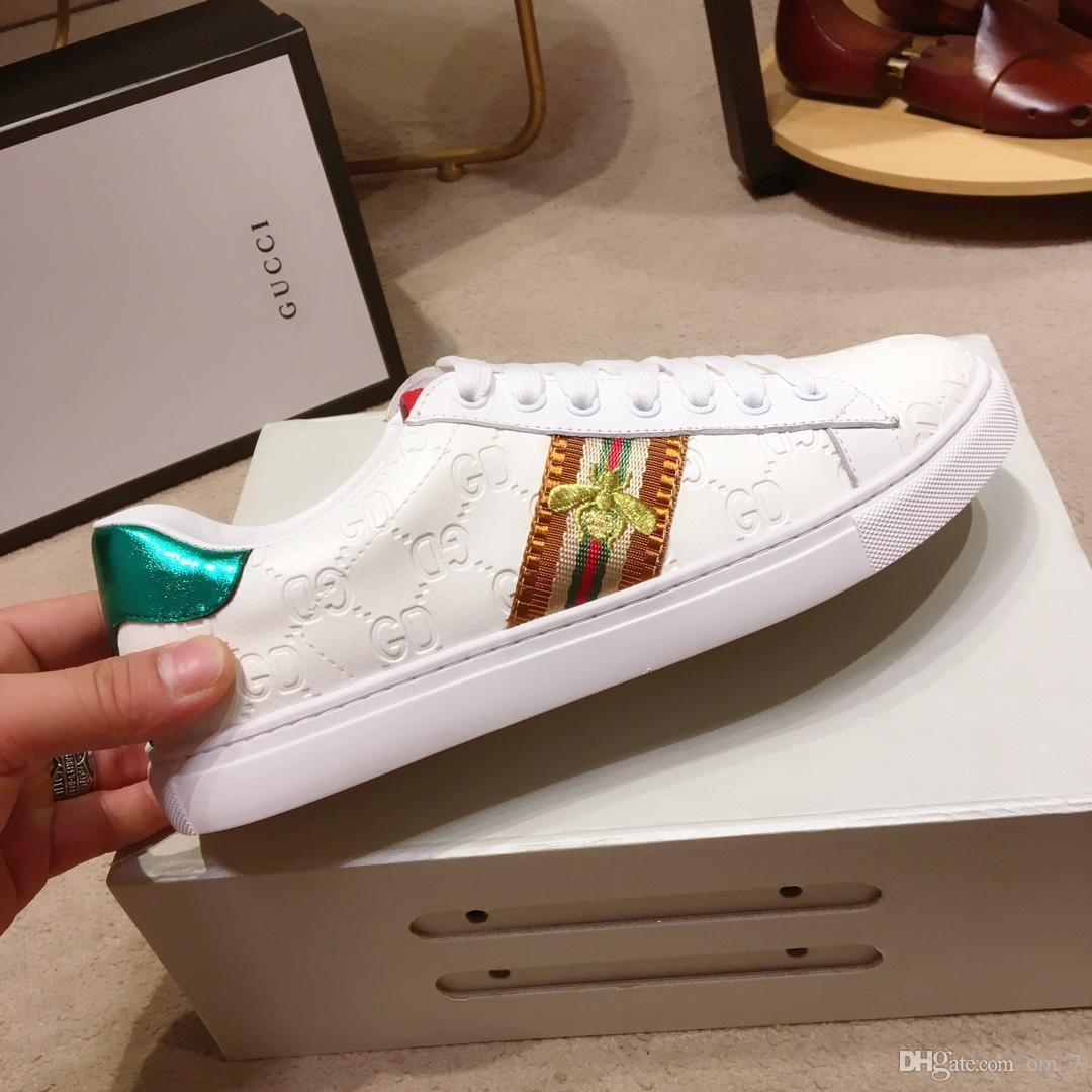 2020e Sınırlı Üretim Erkek Deri küçük arı İşlemeli Günlük Ayakkabılar Yüksek Kalite Büyük Beden Dantel Yukarı Spor ayakkabıları, Boyutu: 38-45