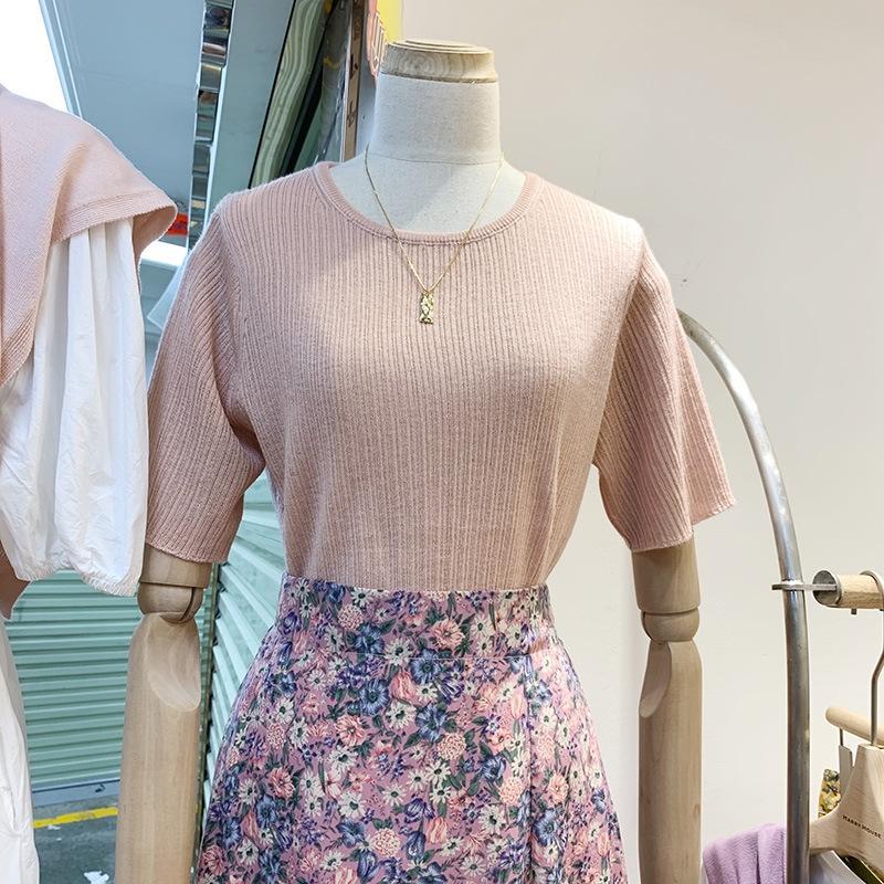 qWVkL estilo de Corea Dongdaemun 2020 verano nueva jersey de cuello redondo de las mujeres del todo-fósforo que adelgaza color sólido estilo coreano tocando fondo suéter t-sh