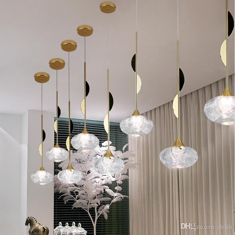 Moderne en verre avec pendentif boule lumières pour salle à manger intérieure Accueil accessoires de cuisine Lampe Suspendue Bar Restaurant Décor Luster 110v 220V Luminaire