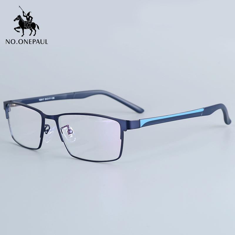 NO.ONEPAUL Men Eyewear Flexible Temples Legs UP Electroplating Material,and Half Rim Men Titanium Alloy Eyeglasses Frame for